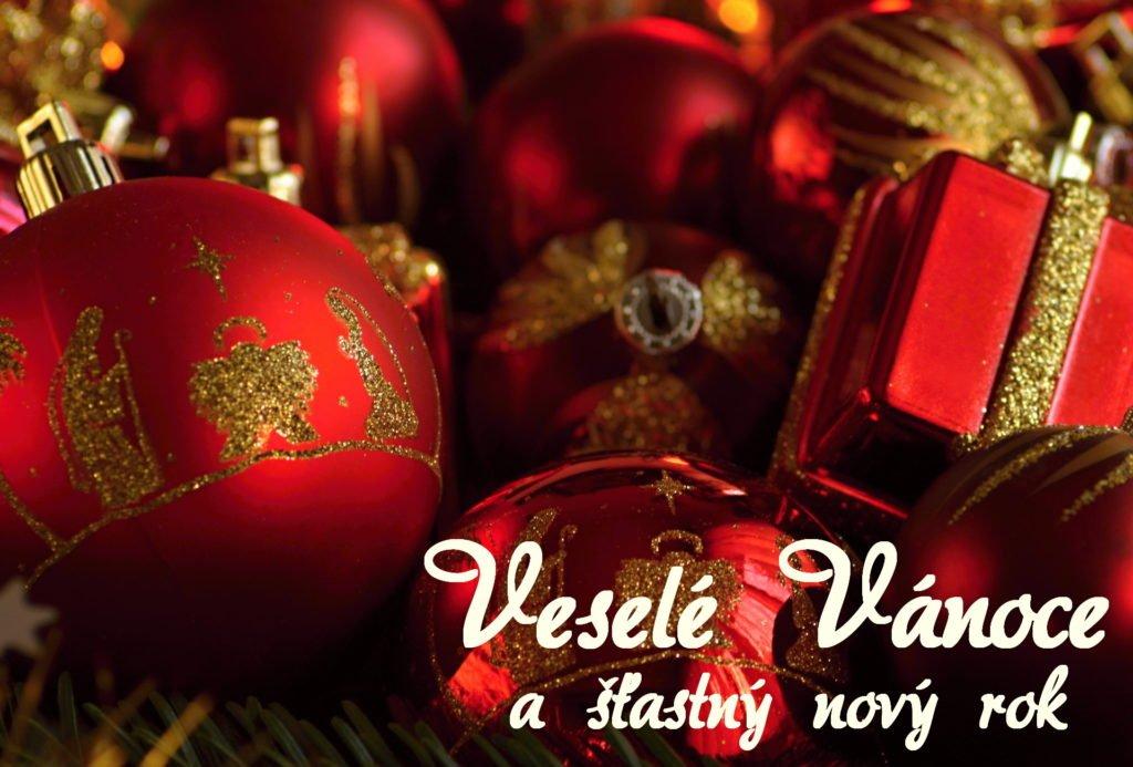 Červeno-zlaté ozdoby vánoční přání
