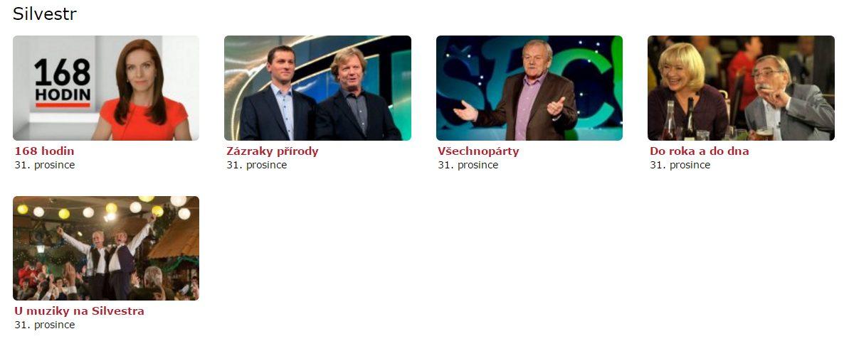 Program České televize na Silvestra 2016